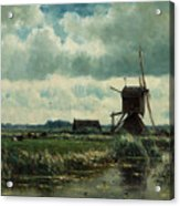 Polder Landscape With Windmill Near Aboude Acrylic Print