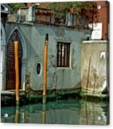 Poles On Canal In Venice Acrylic Print