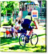 Police Officer Rides A Bicycle Acrylic Print