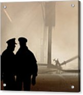Police Watching Firefighters During Moose Jaw New Years Fire Acrylic Print