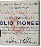 Polio Certificate, 1954 Acrylic Print