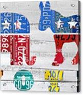 Political Party Election Vote Republican Vs Democrat Recycled Vintage Patriotic License Plate Art Acrylic Print