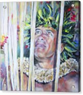 Polynesian Maori Warrior With Spears Acrylic Print