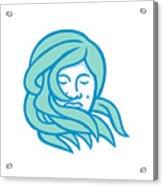 Polynesian Woman Flowing Hair Mascot Acrylic Print