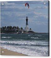 Pompano Beach Kiteboarder Hillsboro Lighthouse Catching Major Air Acrylic Print