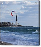 Pompano Beach Kiteboarder Hillsboro Lighthouse Acrylic Print