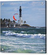 Pompano Beach Kiteboarder Hillsboro Lighthouse Waves Acrylic Print