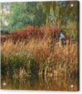 Pond Cattail Weeping Willow With Kingfisher Acrylic Print