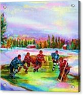 Pond Hockey Blue Skies Acrylic Print