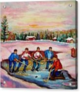 Pond Hockey Warm Day Acrylic Print
