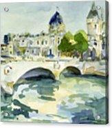 Pont de Change Watercolor Paintings of Paris Acrylic Print