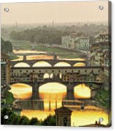 Ponte Vecchio Enlighten By The Warm Sunlight, Florence. Acrylic Print