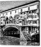 Ponte Vecchio Florence Sketch Acrylic Print
