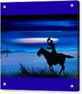 Pony Express Rider Blue Acrylic Print