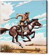 Pony Express Rider Historical Americana Painting Desert Scene Acrylic Print
