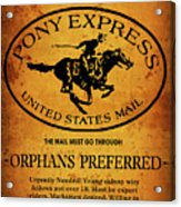 Pony Express Wanted Poster Acrylic Print