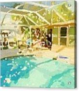 Pool And Screened Pool House Acrylic Print