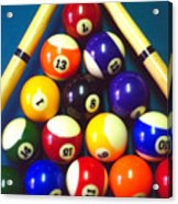 Pool Balls And Cue Sticks Acrylic Print
