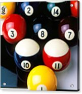 Pool Balls On Tiles Acrylic Print by Garry Gay
