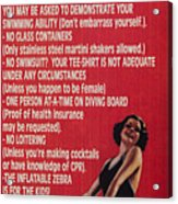 Pool Rules Acrylic Print