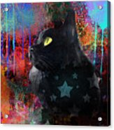 Pop Art Black Cat Painting Print Acrylic Print by Svetlana Novikova