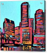 Pop Art Boston Skyline Acrylic Print