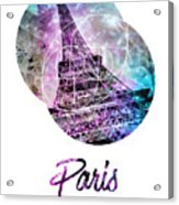 Pop Art Eiffel Tower Graphic Style Acrylic Print