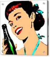 Pop Art Girl With Soda Bottle Acrylic Print