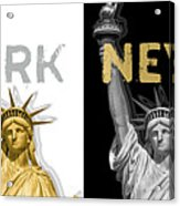 Pop Art Statue Of Liberty - New York New York - Panoramic Golden Silver Acrylic Print