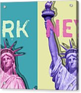 Pop Art Statue Of Liberty - New York New York - Panoramic Acrylic Print