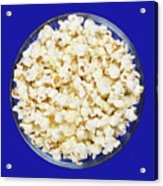 Popcorn In Glass Bowl On Blue Background Acrylic Print