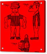 Popeye Doll Patent 1932 In Red Acrylic Print