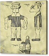 Popeye Doll Patent 1932 In Weathered Acrylic Print