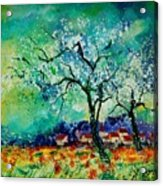 Poppies And Appletrees In Blossom Acrylic Print