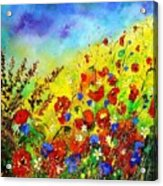 Poppies And Blue Bells Acrylic Print