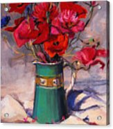 Poppies And Cornflowers In Green Jug Acrylic Print