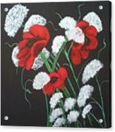 Poppies And Lace Acrylic Print