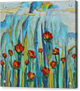 Poppies And Mountains Acrylic Print
