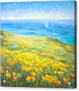 Poppies Greeting Whales Acrylic Print