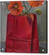 Poppies In A Red Bag Acrylic Print