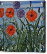 Poppies, Iris, Giant Alium Acrylic Print
