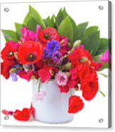 Poppy With Sweet Pea And Corn Flowers On White Acrylic Print
