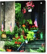 Porch With Geraniums And American Flags Acrylic Print