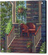 Porch With Red Wicker Chairs Acrylic Print