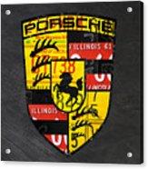 Porsche Sports Car Logo Recycled Vintage License Plate Car Tag Art Acrylic Print