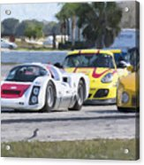 Porsches In The Corner At Sebring Raceway Acrylic Print