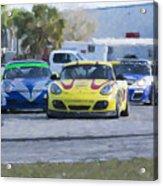 Porsches Rounding The Corner At Sebring Acrylic Print