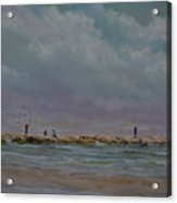 Port Aransas Jetty In Acrylic Print