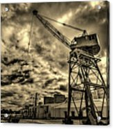 Port Crane At Sunset Acrylic Print