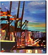 Port Of Hamburg With Container Ships Acrylic Print